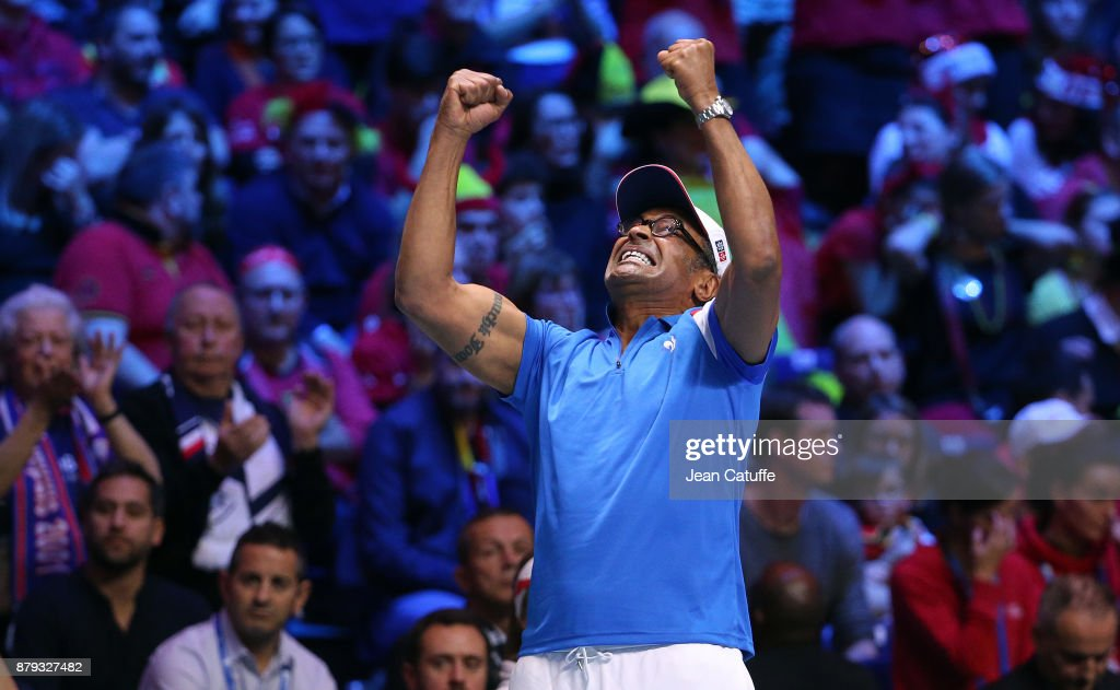 Captain of France Yannick Noah celebrates winning a point during the doubles match on day 2 of the Davis Cup World Group final between France and Belgium at Stade Pierre Mauroy on November 25, 2017 in Lille, France.
