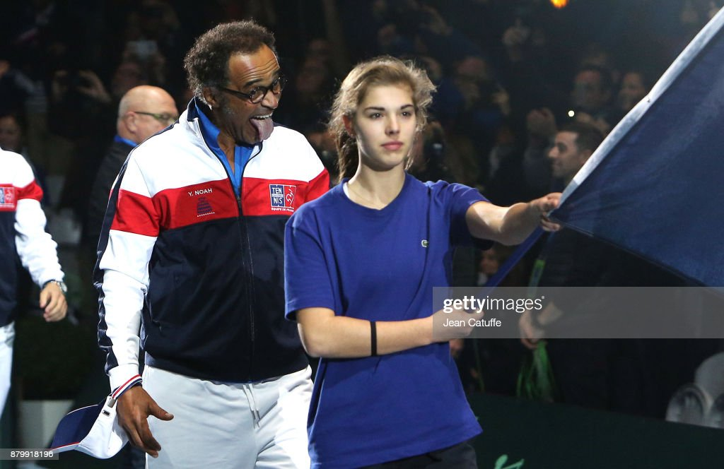 Captain of France Yannick Noah celebrates winning the Davis Cup during day 3 of the Davis Cup World Group final between France and Belgium at Stade Pierre Mauroy on November 26, 2017 in Lille, France.
