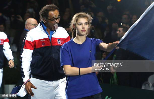 Captain of France Yannick Noah celebrates winning the Davis Cup during day 3 of the Davis Cup World Group final between France and Belgium at Stade...