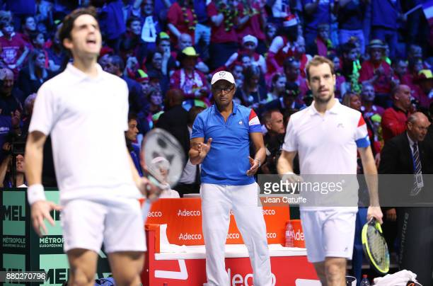 Captain of France Yannick Noah PierreHughes Herbert Richard Gasquet during the doubles match on day 2 of the Davis Cup World Group final between...