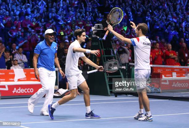 Captain of France Yannick Noah PierreHughes Herbert Richard Gasquet celebrate the victory following the doubles match on day 2 of the Davis Cup World...