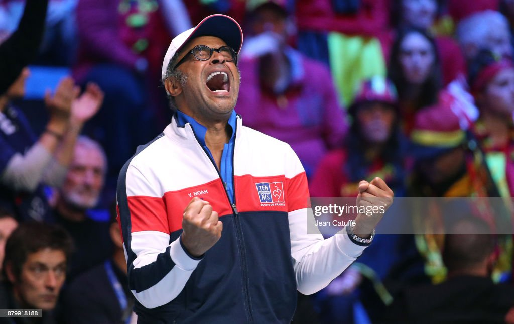 Captain of France Yannick Noah winning the Davis Cup during day 3 of the Davis Cup World Group final between France and Belgium at Stade Pierre Mauroy on November 26, 2017 in Lille, France.
