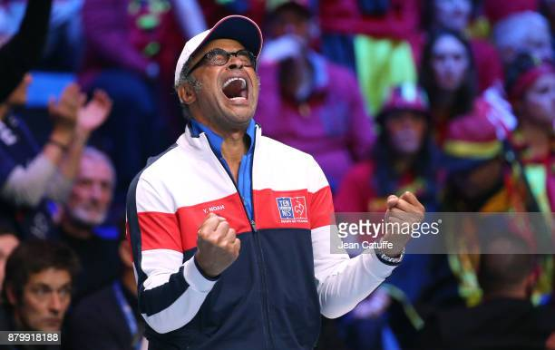 Captain of France Yannick Noah winning the Davis Cup during day 3 of the Davis Cup World Group final between France and Belgium at Stade Pierre...