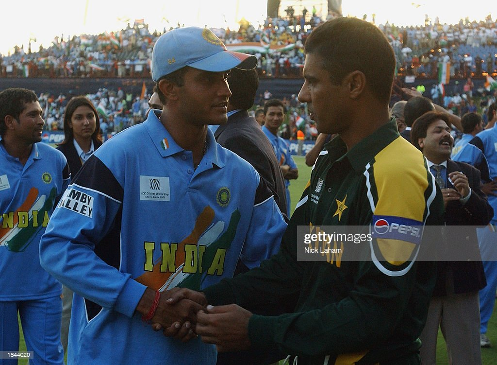 Captain of India Sourav Ganguly shakes hands with Pakistan captain Waqar Younis during the ICC Cricket World Cup 2003 Pool A match between India and Pakistan held on March 1, 2003 at the Supersport Stadium, in Centurion, South Africa. India won the match by 6 wickets.