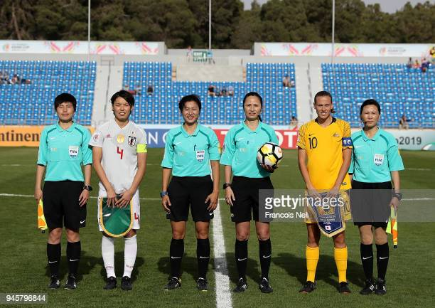 Captain of Japan Saki Kumagai and captain of Australia Emily VanEgmond pose for photographs prior to the AFC Women's Asian Cup Group B match between...