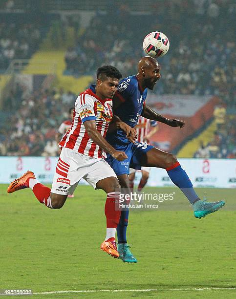 Captain of Mumbai City FC Anelka trying to go past of Atletico de Kolkata defense during Indian Super League match at DY Patil stadium on November 1...