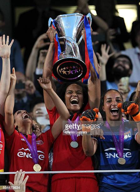 Captain of Olympique Lyonnais Wendie Renard lifts the trophy following the the UEFA Women's Champions League Final VfL Wolfsburg and Olympique...
