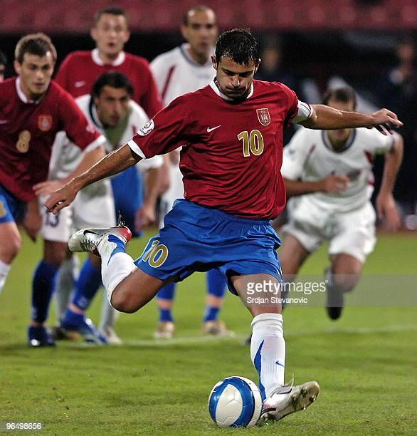 Captain of Serbian national soccer team and Inter Milan star Dejan Stankovic of Serbia scores firsth goal from penality kick in Euro 2008 qualifying...