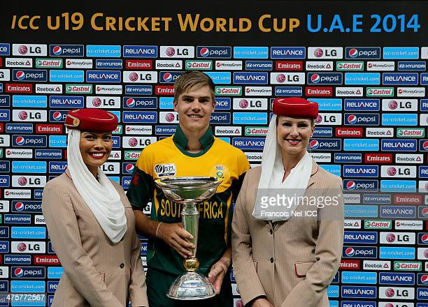 Captain of South Africa Aiden Markram poses with the trophy after winning the ICC U19 Cricket World Cup 2014 Super League Final match between South...