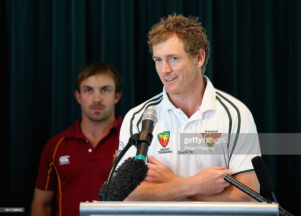 Captain of Tasmanian Tigers George Bailey speaks during the State Cricket Awards at Blundstone Arena on March 20, 2013 in Hobart, Australia.