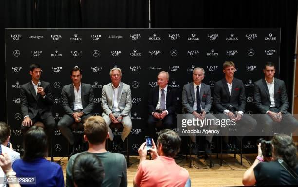Captain of Team Europe Bjorn Borg and Captain of Team World John McEnroe and tennis players Roger Federer Novak Djokovic Kevin Anderson John Isner...