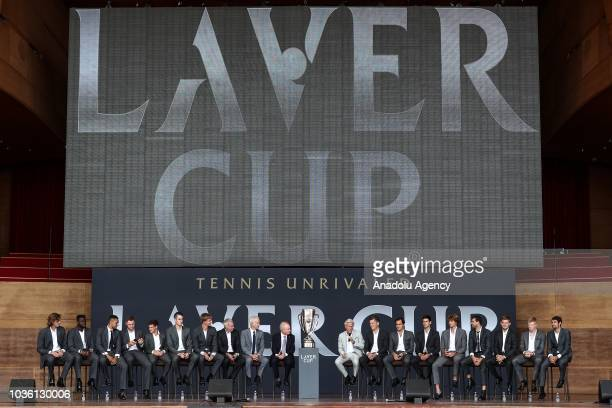 Captain of Team Europe Bjorn Borg and Captain of Team World John McEnroe and tennis players Roger Federer Novak Djokovic Alexander Zverev Grigor...