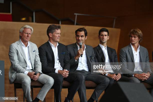 Captain of Team Europe Bjorn Borg and Captain of Team World John McEnroe and tennis players Roger Federer Novak Djokovic Alexander Zverev hold a...