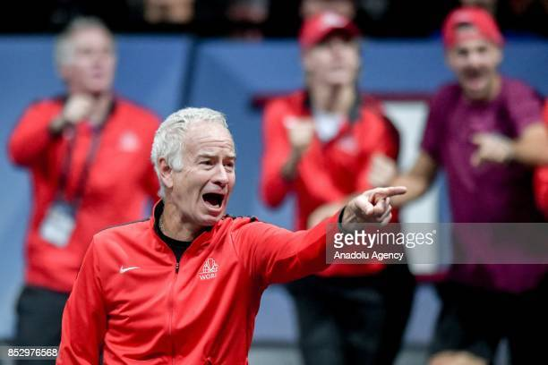 Captain of Team World John McEnroe follows the match between US Jack Sock and John Isner of the Team World vs Czech Republic's Tomas Berdych and...