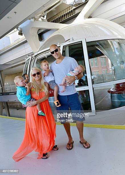 Captain of the Anaheim Ducks Ryan Getzlaf and his wife Paige Getzlaf and their children Gavin Getzlaf, Ryder Getzlaf and Willa Getzlaf ride on the...