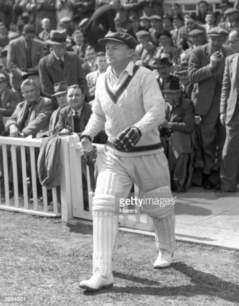 Captain of the Australian cricket team Don Bradman on his last tour, going in to bat at Worcester, England. He averaged very nearly 100 runs...