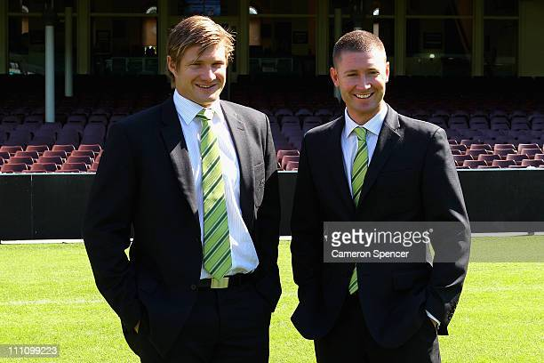 Captain of the Australian cricket team Michael Clarke and his deputy Shane Watson pose in front of the Members Stand following a Cricket Australia...