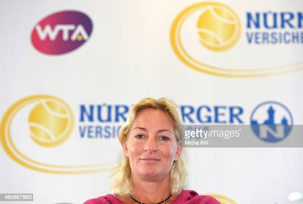 Captain of the German Fed Cup team Barbara Rittner attends the Nuernberger Versicherungscup 2014 press conference at the Business Tower Nuernberg on...