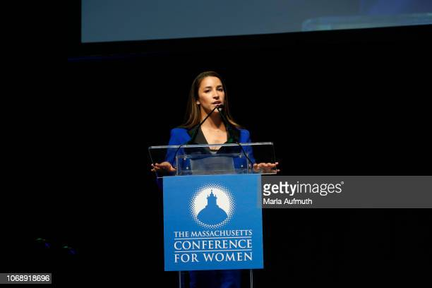 Captain of the gold medalwinning US Olympic women's gymnastics teams in 2012 and 2016 Aly Raisman speaks on stage during 2018 Massachusetts...