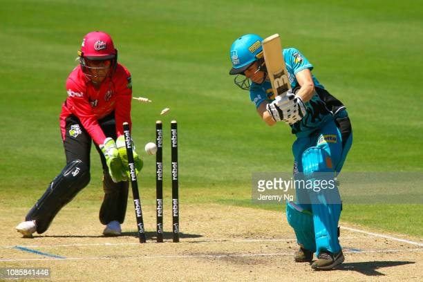 Captain of the Heat, Kirby Short is bowled during the Women's Big Bash League match between the Sydney Sixers and the Brisbane Heat at Hurstville...