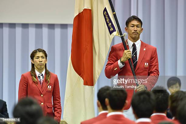Captain of the Japanese deligation Saori Yoshida and a flag-bearer Keisuke Ushiro of Japan attend the send-off event for the Japanese national team...