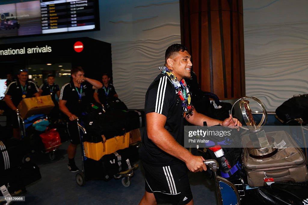 Captain of the New Zealand U20 rugby team Atunaisa Moli arrives at Auckland International Airport on June 23, 2015 in Auckland, New Zealand. New Zealand defeated England on Sunday, winning the U20 World Championship title.