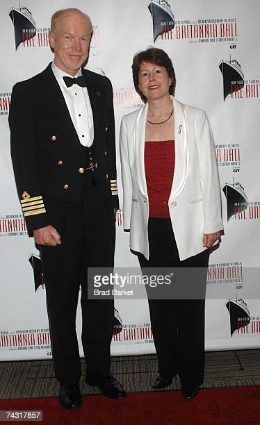Captain of the Queen Mary II Chris Rynd and President of Cunard Line Carol Marlow attend the Britannia Ball at the Brooklyn Cruise Terminal on May 24...