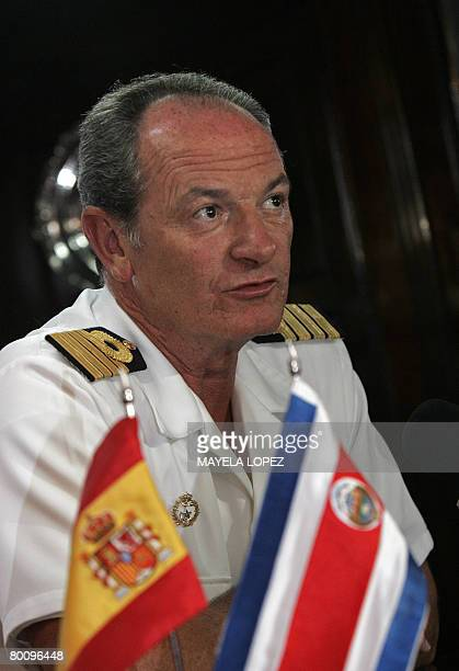 Captain of the Spanish school boat Juan Sebastian de Elcano Francisco Javier Romero talks to press on March 3 2008 at Puntarenas port on the Pacific...
