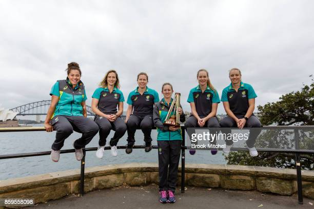 Captain of the upcoming Ashes series Rachel Haynes with Belinda Vakarewa Ellyse Perry Alex Blackwell Alyssa Healy and Lauren Cheatle during the...