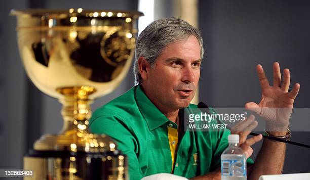 Captain of the US team, Fred Couple, speaks during a press conference at the President's Cup golf event at the Royal Melbourne golf course, In...