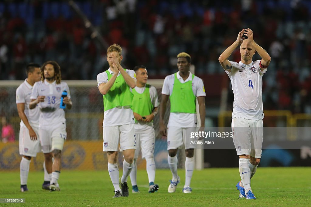 Captain of the USA national team #4 Michael Bradley applauds the crowd during a World Cup Qualifier between Trinidad and Tobago and USA as part of the FIFA World Cup Qualifiers for Russia 2018 at Hasely Crawford Stadium on November 17, 2015 in Port of Spain, Trinidad & Tobago.