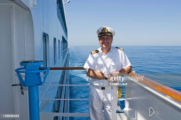 Captain on bridge of cruiseship Silver Spirit (Silversea Cruises).