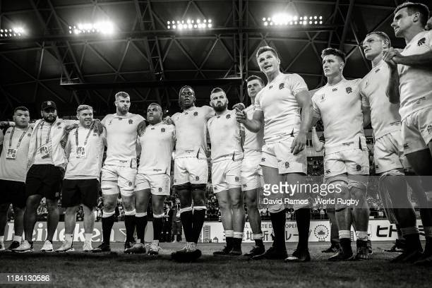Captain Owen Farrell of England talks to team mates after the Rugby World Cup 2019 Quarter Final match between England and Australia at Oita Stadium...