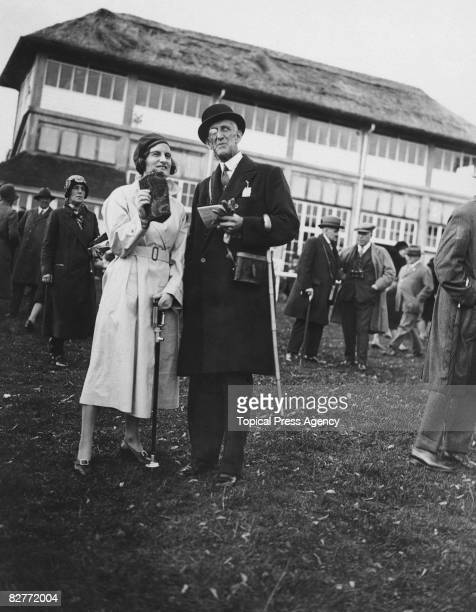Captain Palmer and Miss Roddick are among the spectators at Fontwell Park Racecourse West Sussex 8th October 1930