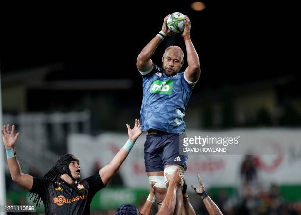 Captain Patrick Tuipulotu of the Blues beats Naitoa Ah Kuoi of the Chiefs to win a lineout during the Super Rugby match between Waikato Chiefs and...