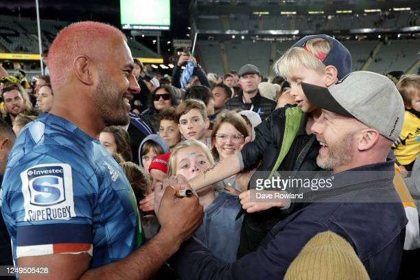 Captain Patrick Tuipulotu of the Blues meets fans after the round 1 Super Rugby Aotearoa match between the Blues and the Hurricanes at Eden Park on...