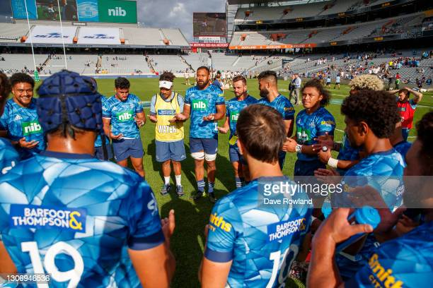 Captain Patrick Tuipulotu of the Blues speaks to his team after the round three Super Rugby Aotearoa match between the Blues and the Highlanders at...