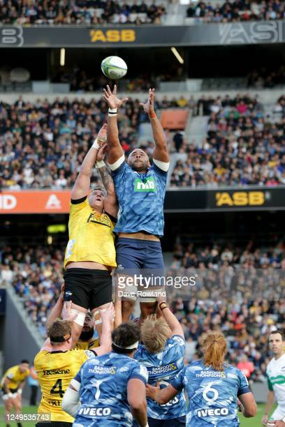 Captain Patrick Tuipulotu of the Blues wins a lineout during the round 1 Super Rugby Aotearoa match between the Blues and the Hurricanes at Eden Park...