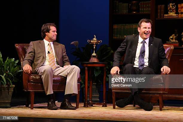 Captain Paul Azinger and European captain Nick Faldo of England attend the Ryder Cup captains celebration held at The Bomhard Theater at the Kentucky...