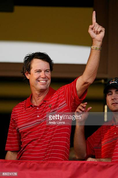 Captain Paul Azinger celebrates the USA 16 1/2 11 1/2 victory on the final day of the 2008 Ryder Cup at Valhalla Golf Club on September 21 2008 in...