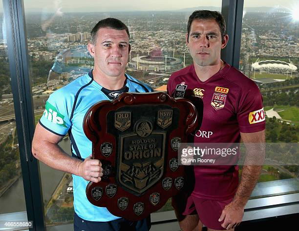 Captain Paul Gallen and Queensland Captain Cameron Smith pose with the State of Origin Shield during the 2015 State of Origin Series Launch at Eureka...