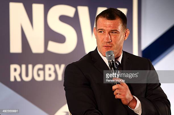 NSW captain Paul Gallen speaks during the New South Wales Blues State of Origin team announcement at Hilton Sydney on May 20 2014 in Sydney Australia
