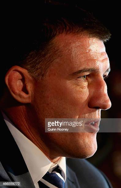 Captain Paul Gallen talks to the media during the 2015 State of Origin Series Launch at Eureka Tower on March 17 2015 in Melbourne Australia