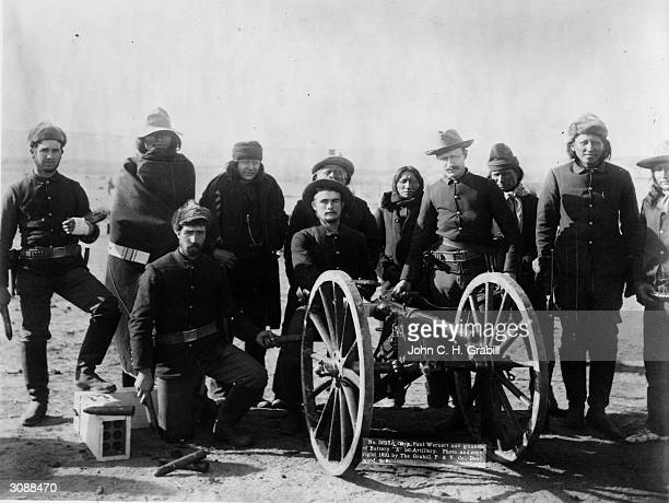 Captain Paul Wernert and the gunners of Battery E of the 1st Artillery regiment of the US Army Several of the soldiers are Native Americans