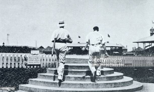 MCC captain Pelham Warner and Tom Hayward walk out to bat during the 4th Test Match against Australia in Sydney February 1904 England won the match...