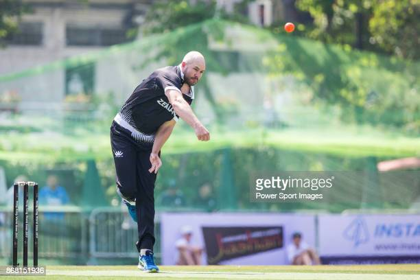 Captain Peter Fulton of New Zealand Kiwis bowls during Day 1 of Hong Kong Cricket World Sixes 2017 Group B match between New Zealand Kiwis vs...