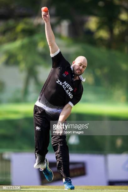 Captain Peter Fulton of New Zealand Kiwis bowls during Day 2 of Hong Kong Cricket World Sixes 2017 match between New Zealand Kiwis vs Hong Kong at...
