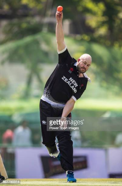Captain Peter Fulton of New Zealand Kiwis bowls during Day 2 of Hong Kong Cricket World Sixes 2017 Cup Semi 1 match between New Zealand Kiwis vs...