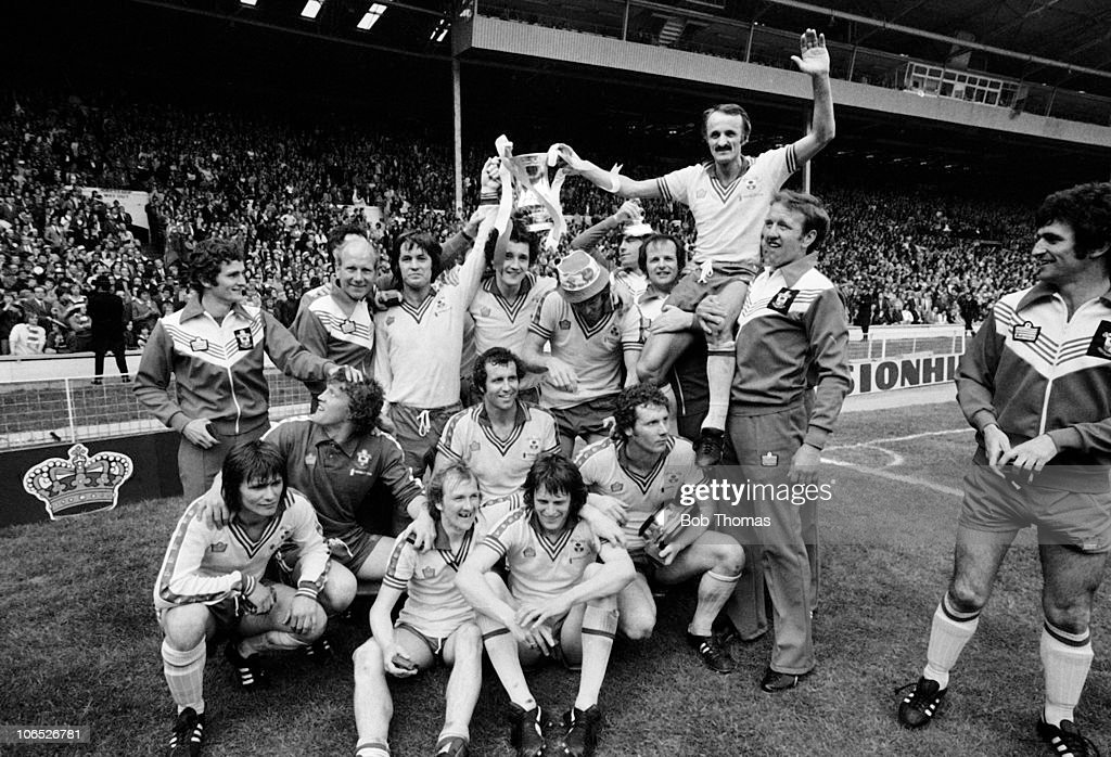 Captain Peter Rodrigues of Southampton (on shoulders) and his teammates celebrate their 1-0 victory over Manchester United in the FA Cup Final held at Wembley Stadium, London on 1st May 1976.
