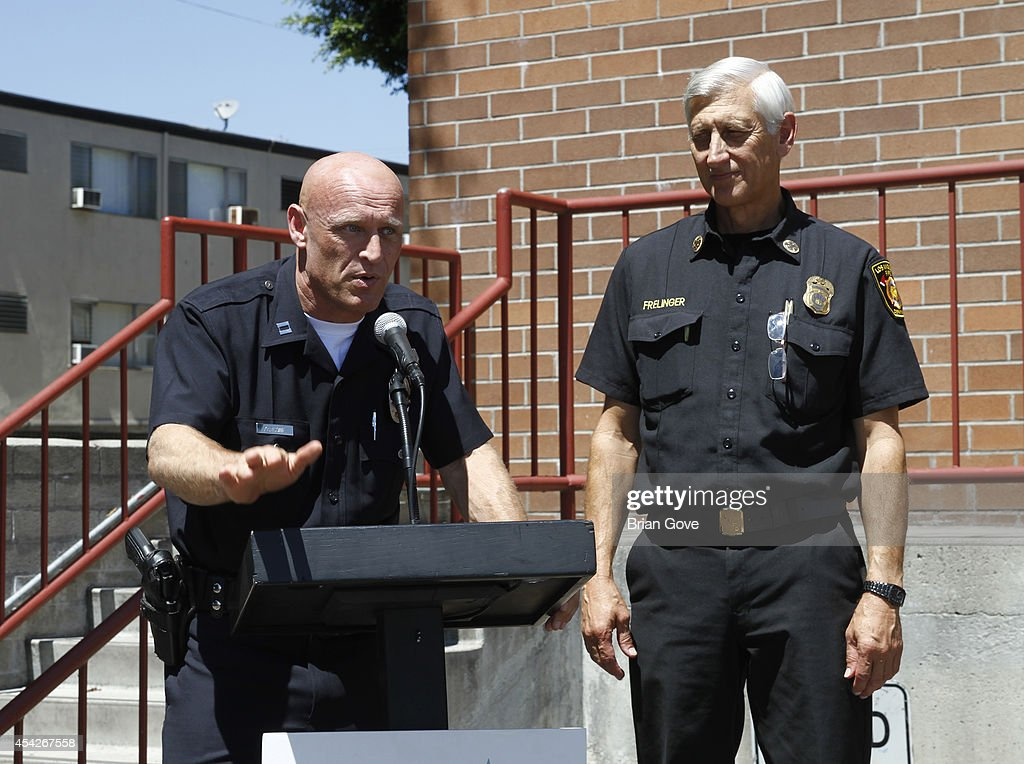 Captain Peter Zarcone and Chief David Frelinger address the crowd on August 27, 2014 in Hollywood, California.